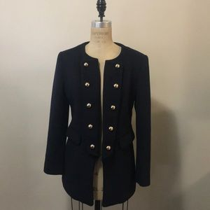 Forever 21 Navy Military Blazer Jacket wool